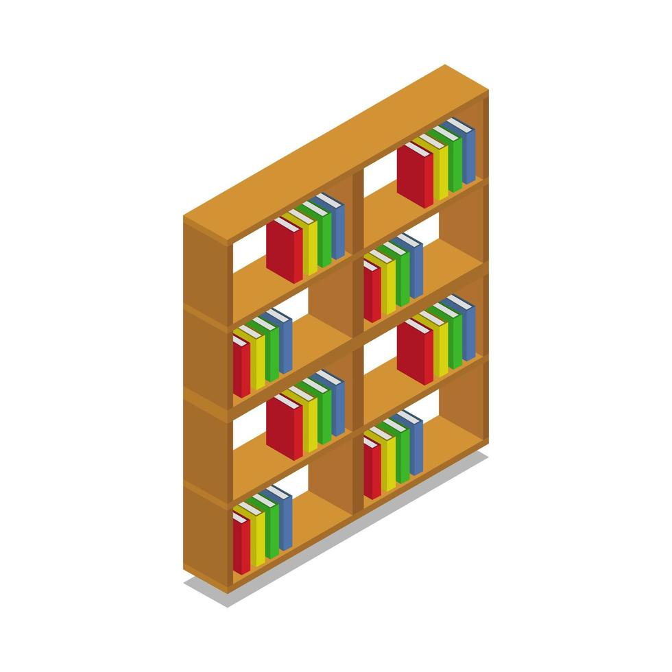 isometrisk bokhylla illustrerad på vit bakgrund vektor