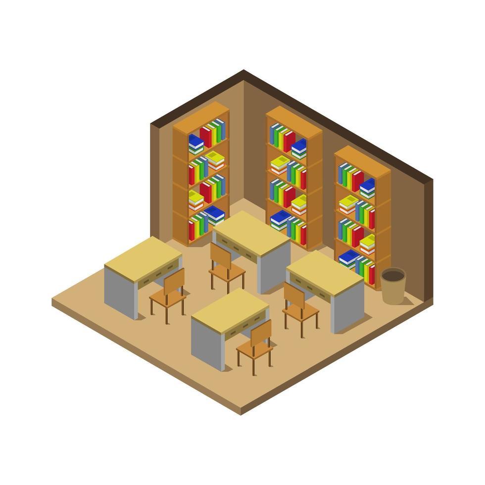 isometrisk klassrum med bokhyllor vektor