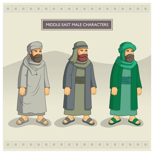 Mittlere Osten männliche Charaktere vektor