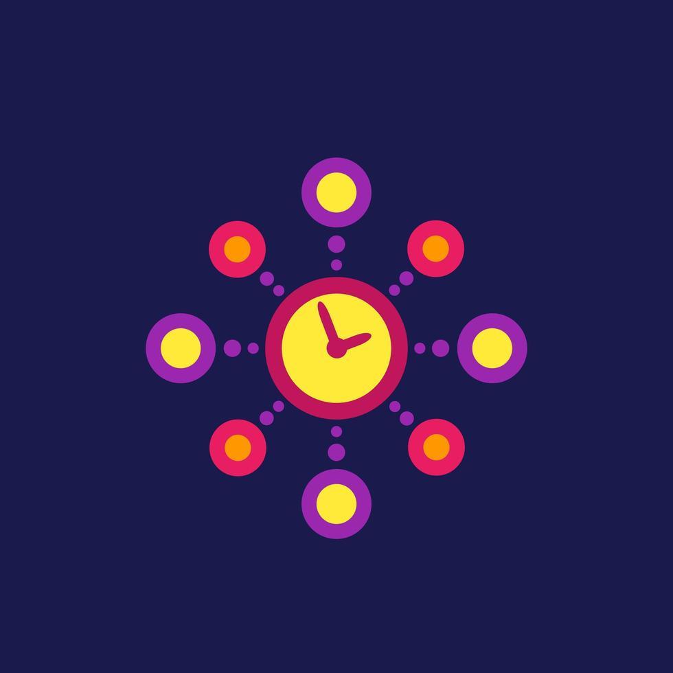 Zeitmanagement, Planungsvektorsymbol, flacher Stil vektor