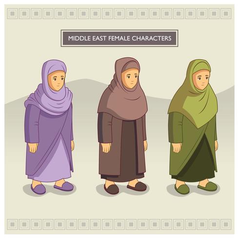 Weibliche Charaktere im Nahen Osten vektor