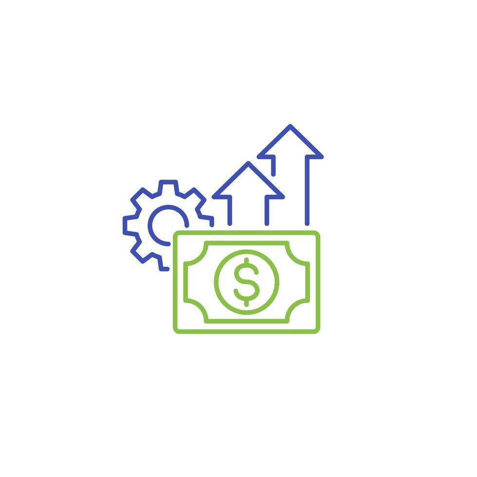 Symbol für finanzielle Effizienz im Linienstil vektor