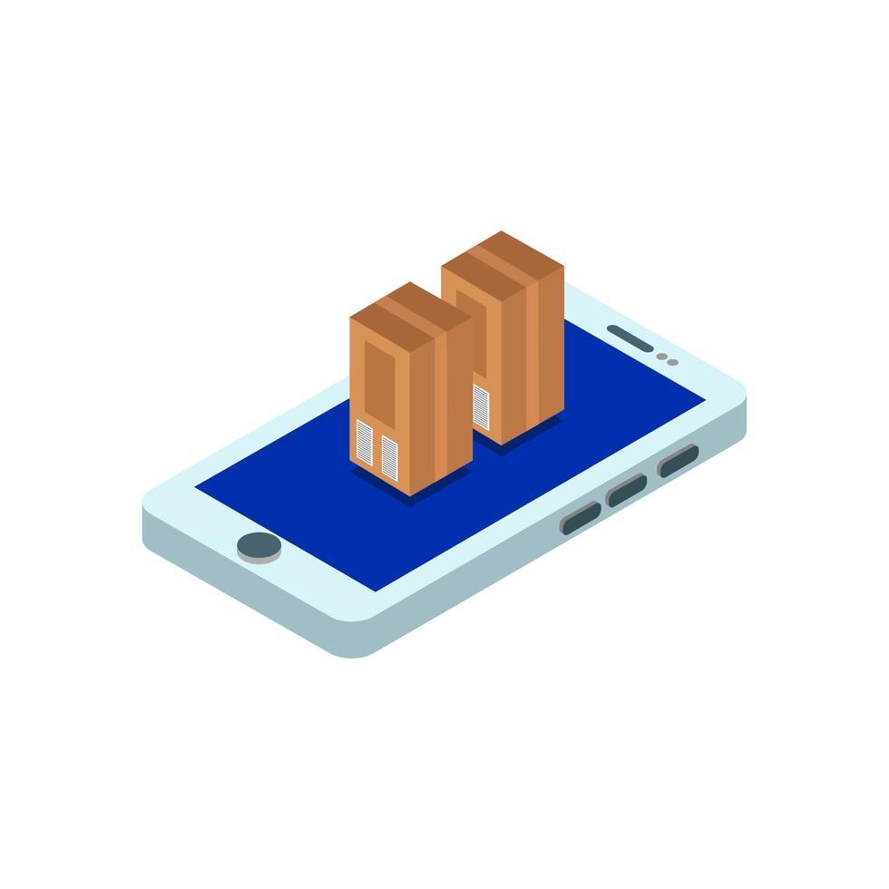 isometrische Pakete auf dem Smartphone vektor