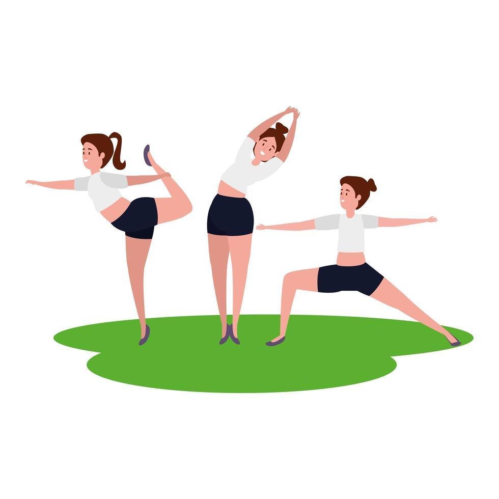 skönhet flickor grupp öva pilates i gräset vektor