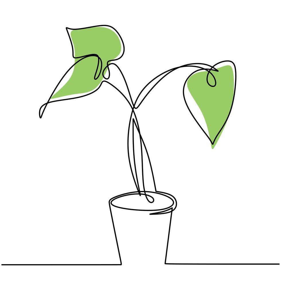 kontinuerlig en linje ritning av husväxt i kruka. botaniska dekorativa växter skissar konturdesign, isolerad på vit bakgrund. dekorativa krukväxtkoncept. vektor illustration