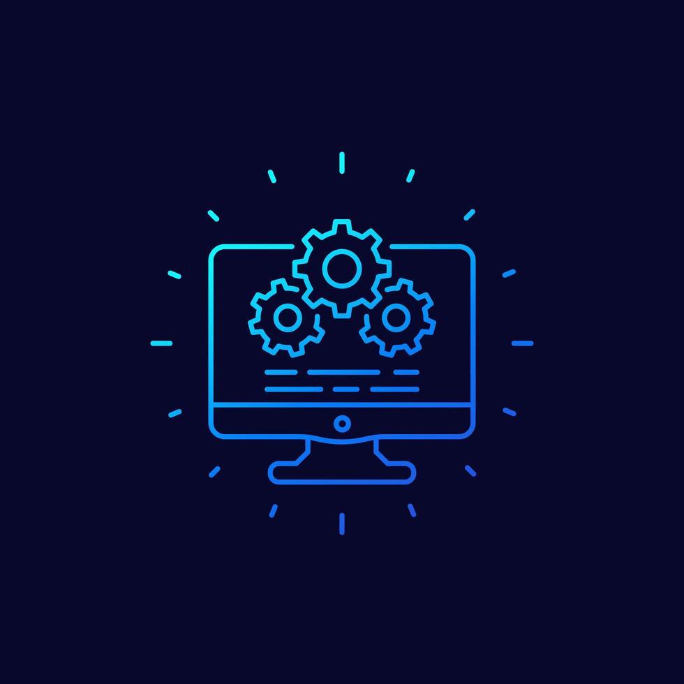 dator och redskap ikon, inställningar och konfiguration linjär vektor