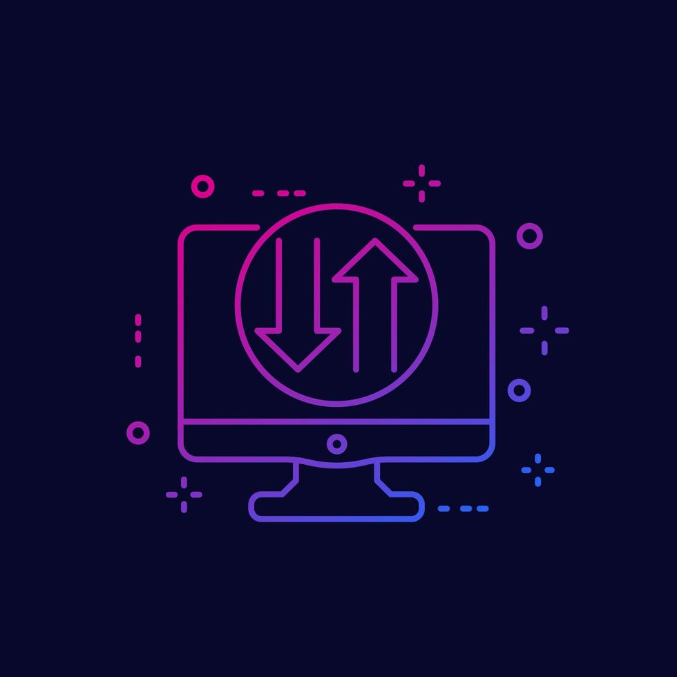 Datenübertragungssymbol auf dem Bildschirm, linear vektor