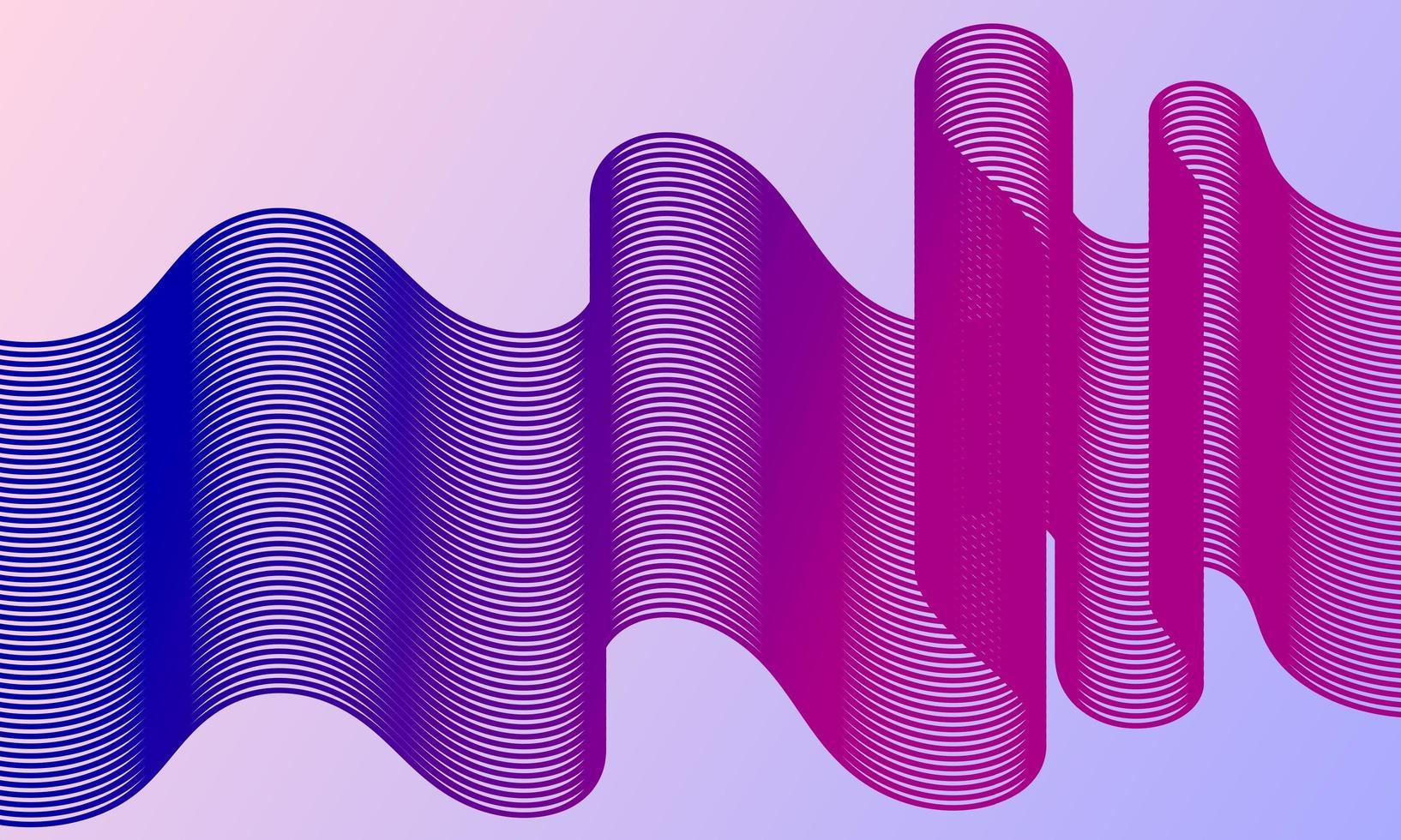 modern abstrakt bakgrund med vågiga linjer i blått och lila vektor