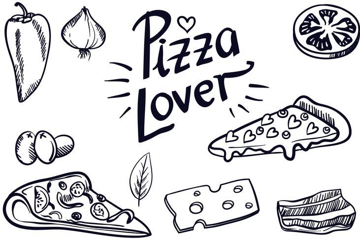 vintage pizza älskare vektorer