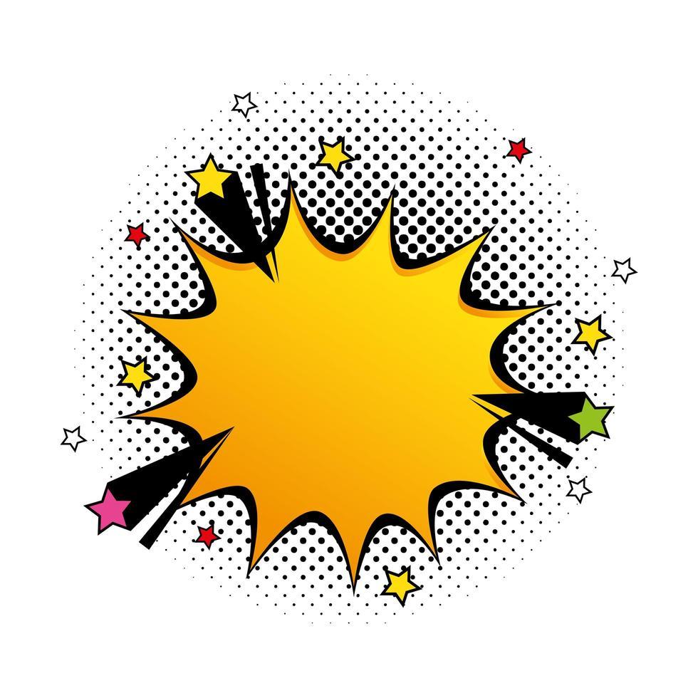 explosion gul färg med stjärnor popkonst stilikon vektor