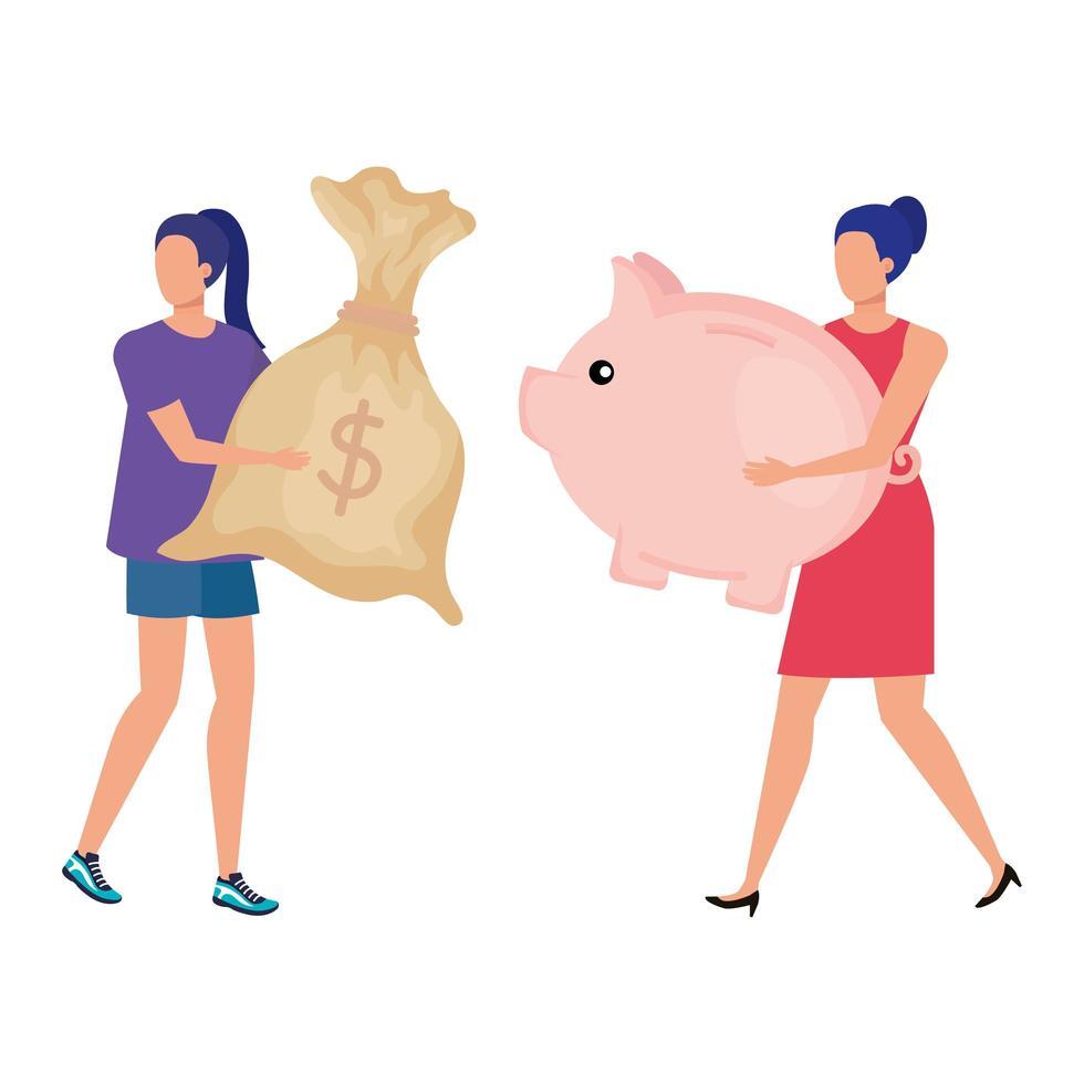 unga kvinnor med spargris och pengarsäck vektor