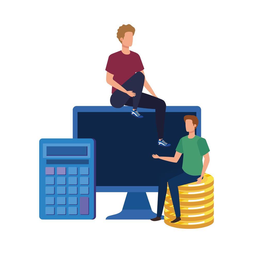 unga män med bärbar dator och pengar vektor