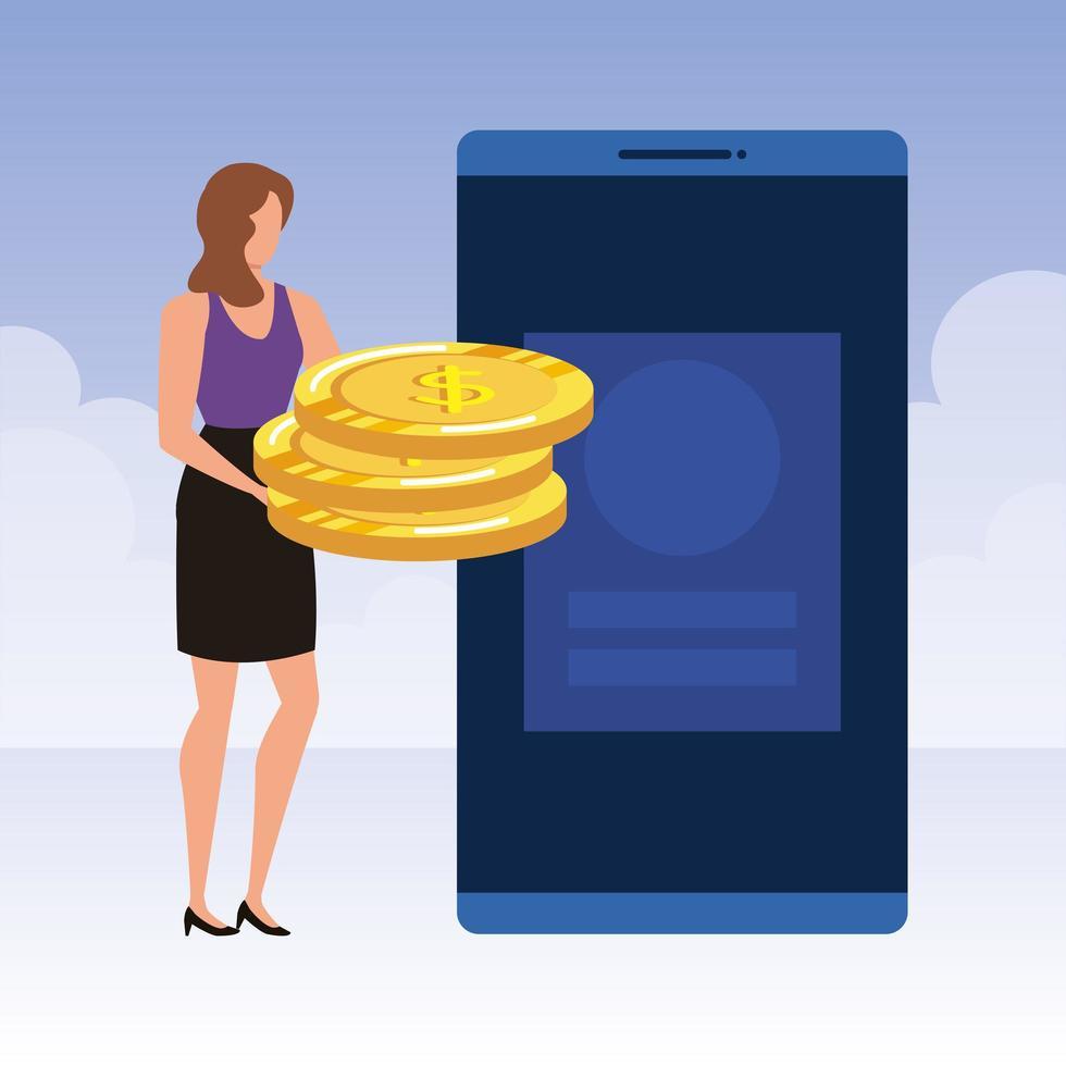 ung kvinna med smartphone och pengar vektor