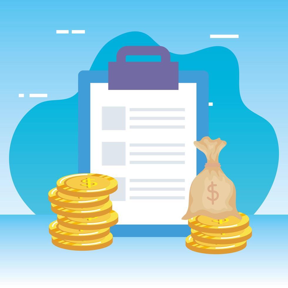 Checkliste Zwischenablage mit Geldbeutel vektor