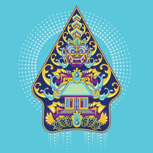 Vektor Färgglada Gunungan Wayang Javanese i Indonesien