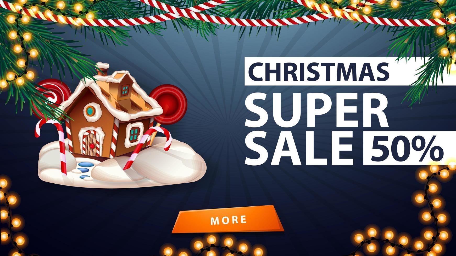 julsuperförsäljning, upp till 50 rabatt, blå rabattbanner med kransar, knapp och pepparkakshus för jul vektor