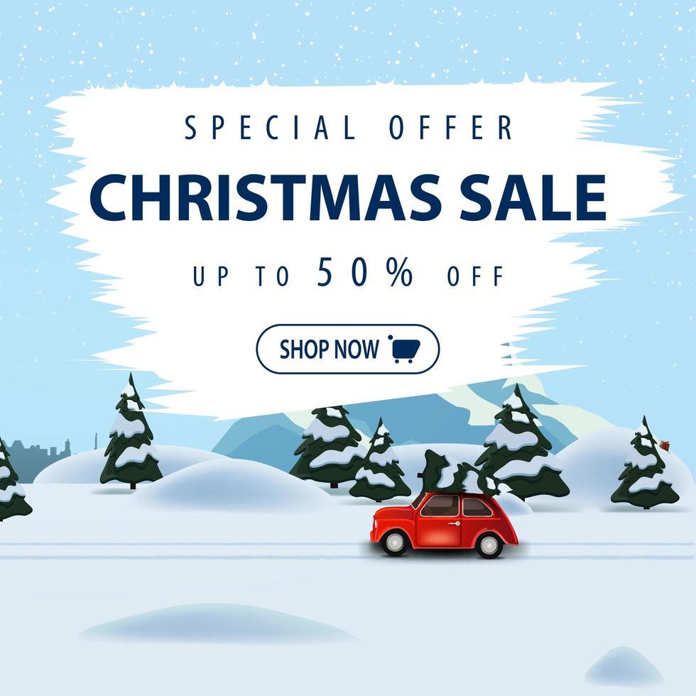 Sonderangebot, Weihnachtsverkauf, bis zu 50 Rabatt, quadratisches schönes Rabattbanner mit Winterlandschaft auf Hintergrund und rotem Oldtimer mit Weihnachtsbaum vektor