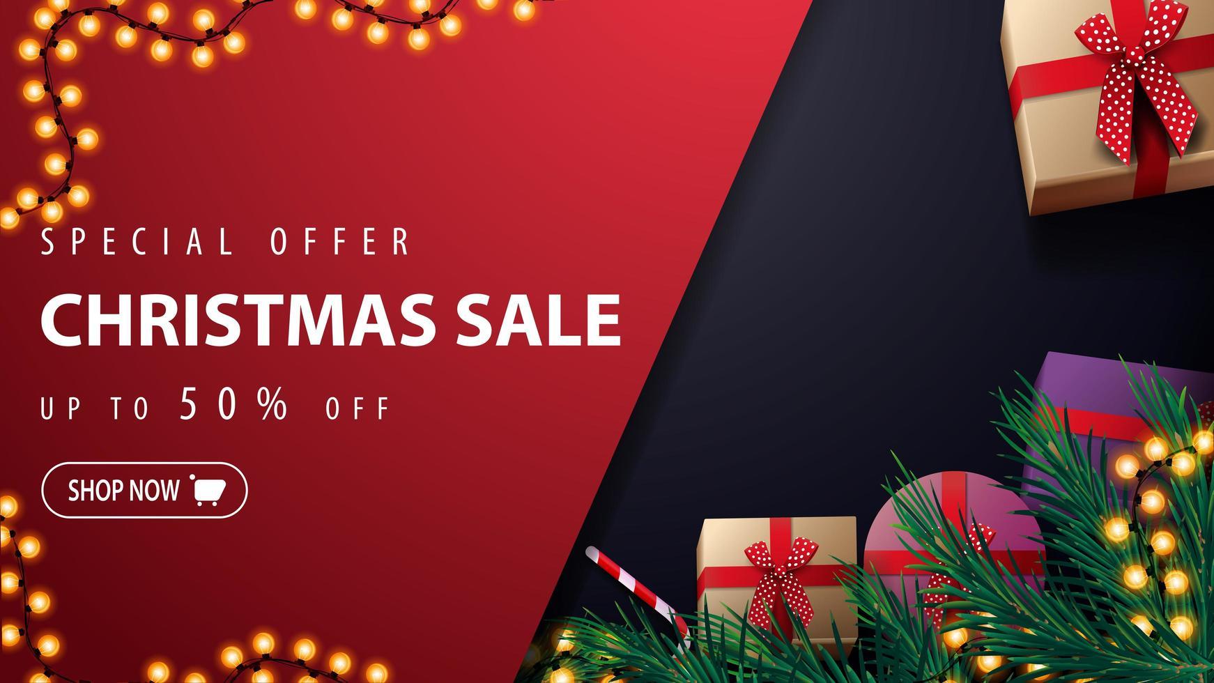 specialerbjudande, julförsäljning, upp till 50 rabatt, röd och blå rabattbanner med krans, julgran, presenter och godisburk, ovanifrån vektor