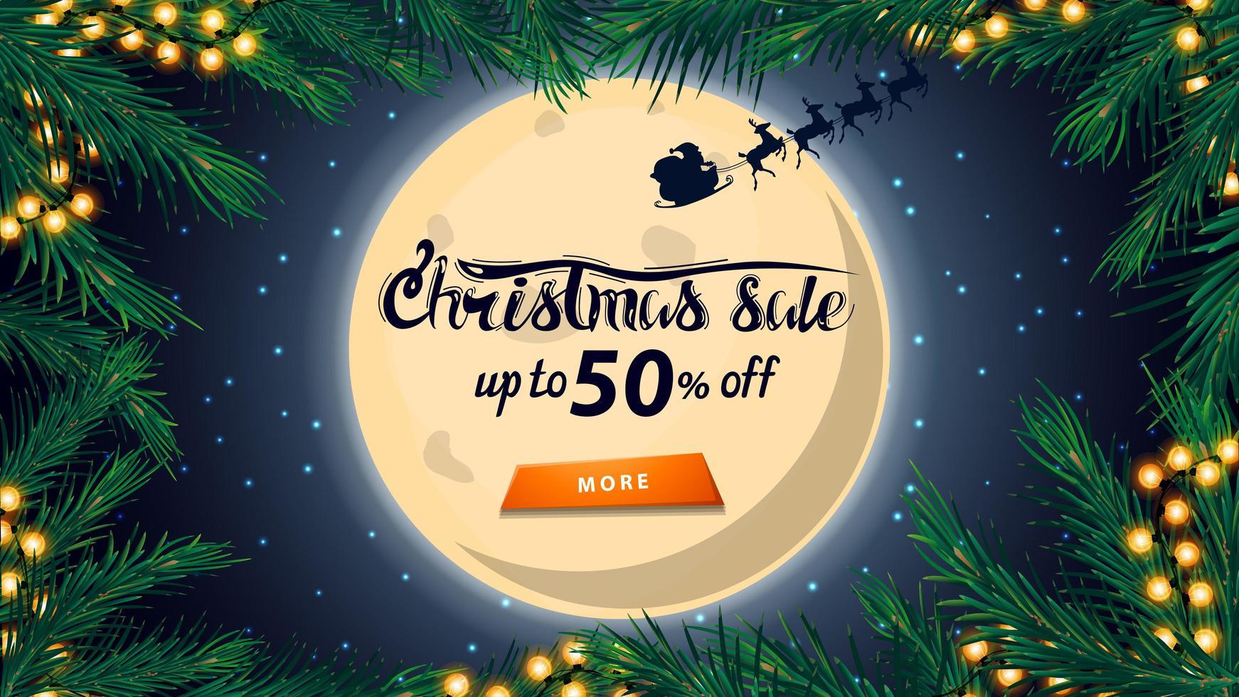 Weihnachtsverkauf, bis zu 50 Rabatt, Rabatt-Banner mit großem Vollmond am Sternenhimmel, Silhouette Weihnachtsmann, Rahmen des Weihnachtsbaumes und orange Knopf vektor