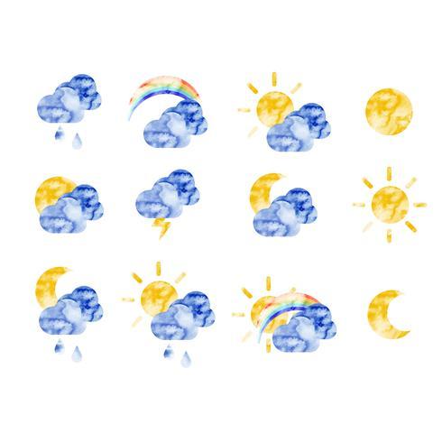 Vektor vattenfärg väder ikoner