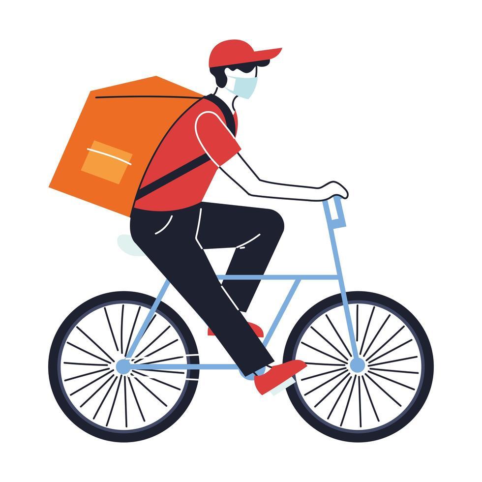 Mann mit Maske liefert Bestellung auf Fahrrad vektor