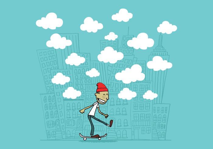 kille på en skateboard vektor