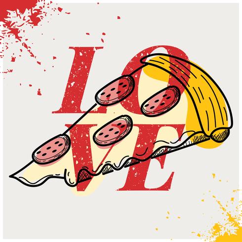kärlek pizzaaffisch vektor