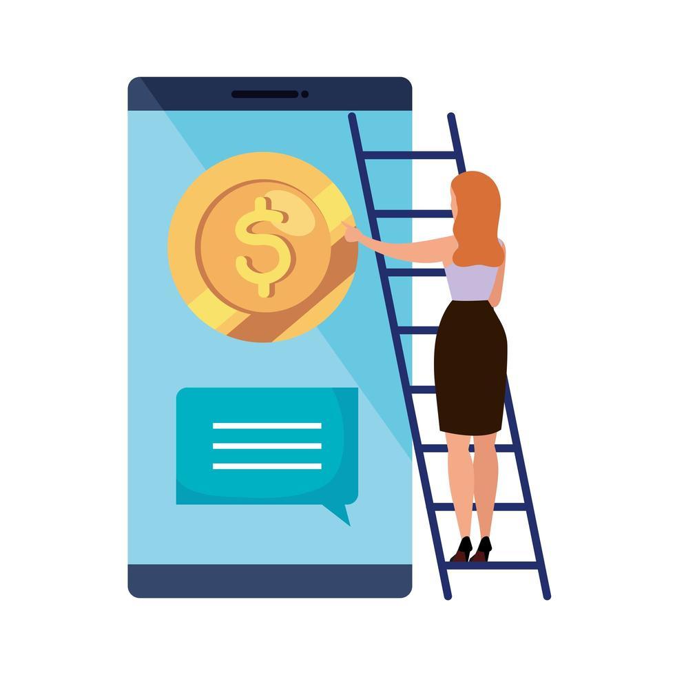 kvinna och smartphone med mynt vektor