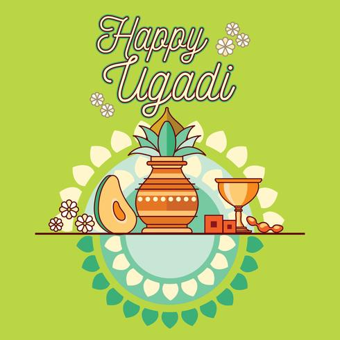 Glad Ugadi. Mall hälsningskort Traditionell festlig indisk mat. Minimalistisk stil vektor