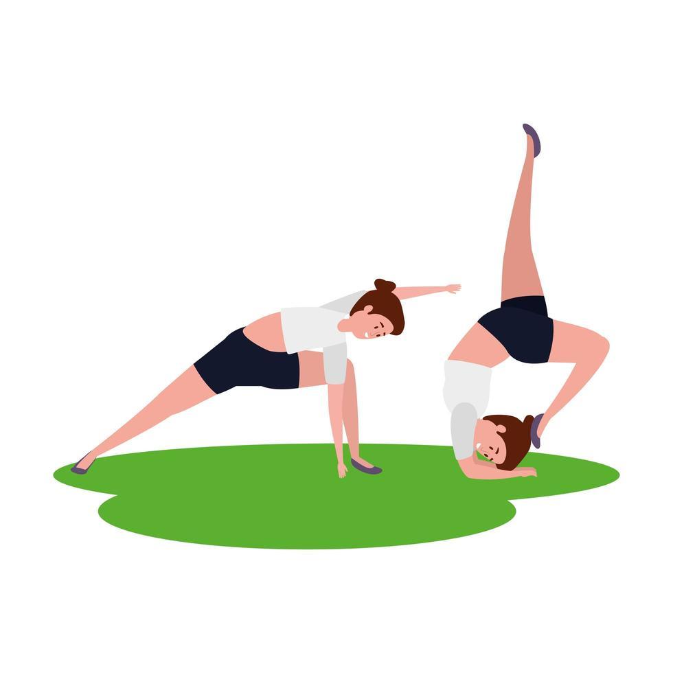 skönhet flickor par öva pilates i gräs vektor
