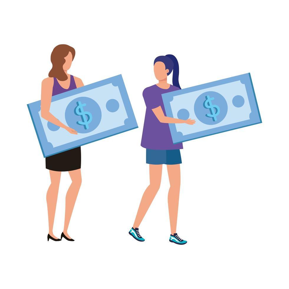 unga kvinnor med räkningar dollar tecken vektor
