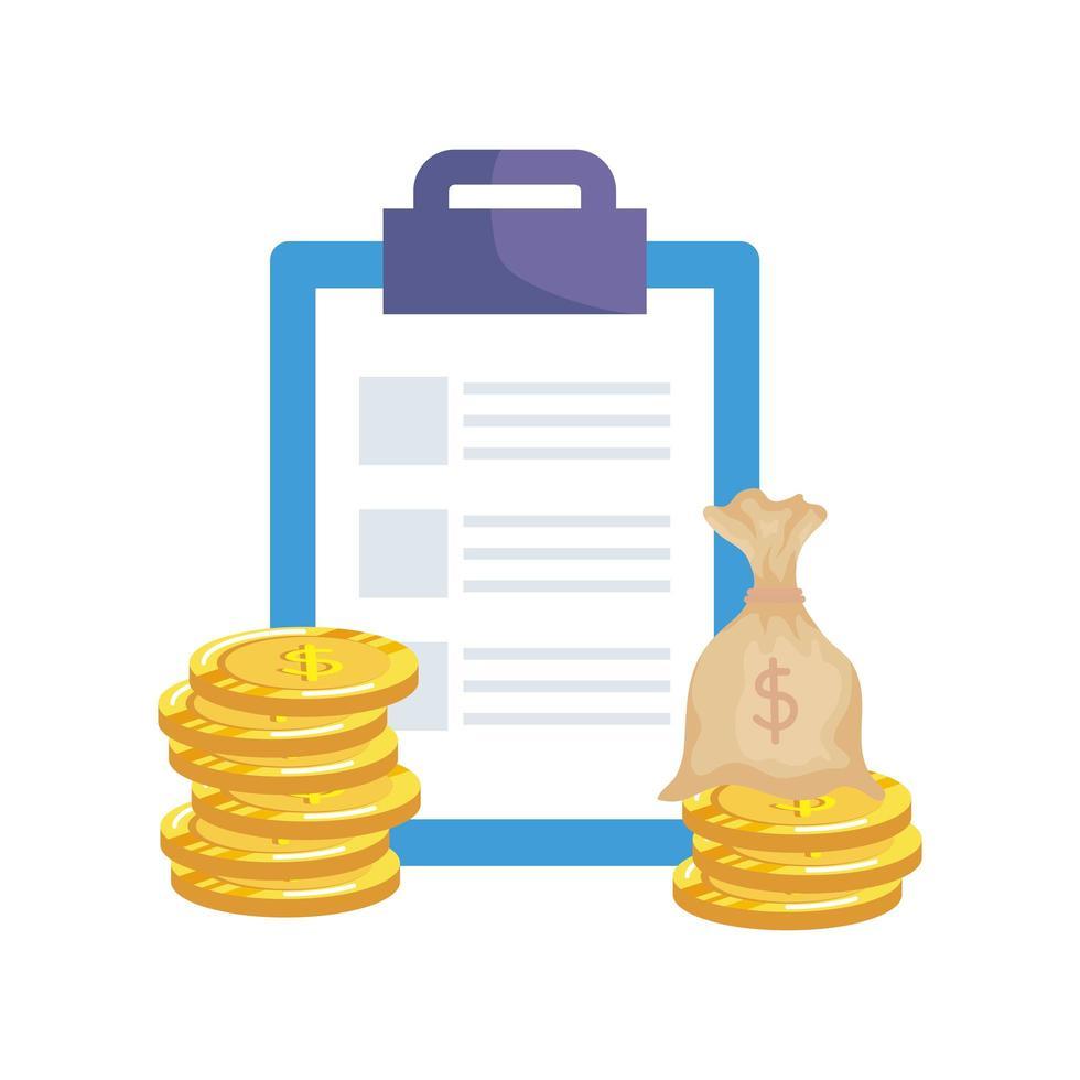 checklista urklipp med pengar väska vektor