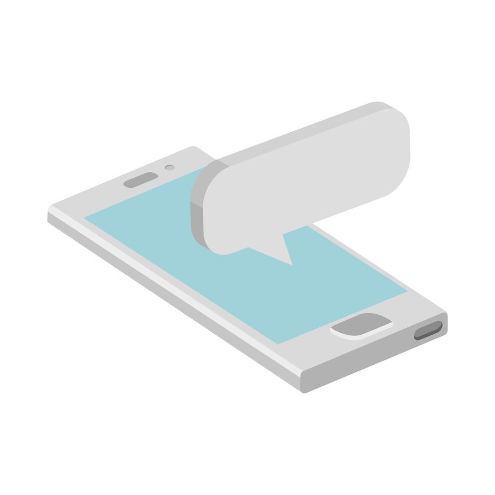 smartphone-enhet med pratbubblan isolerad ikon vektor