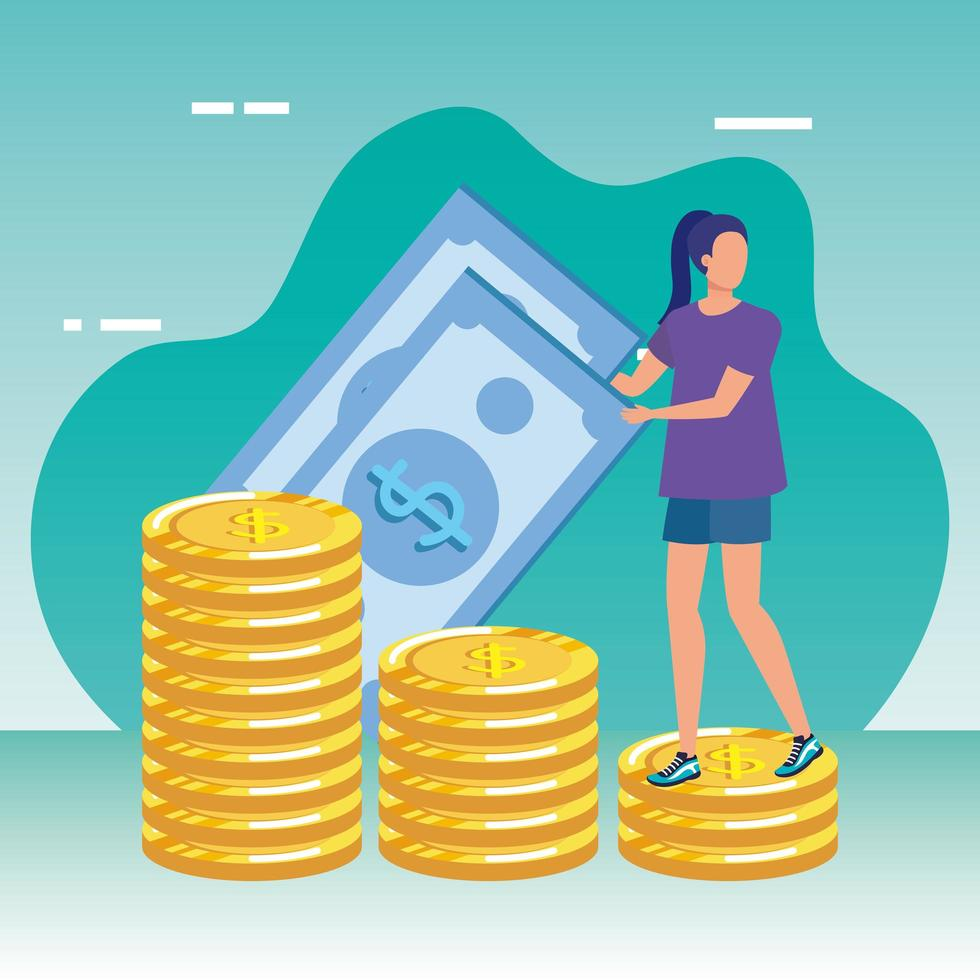ung kvinna med pengar karaktär vektor