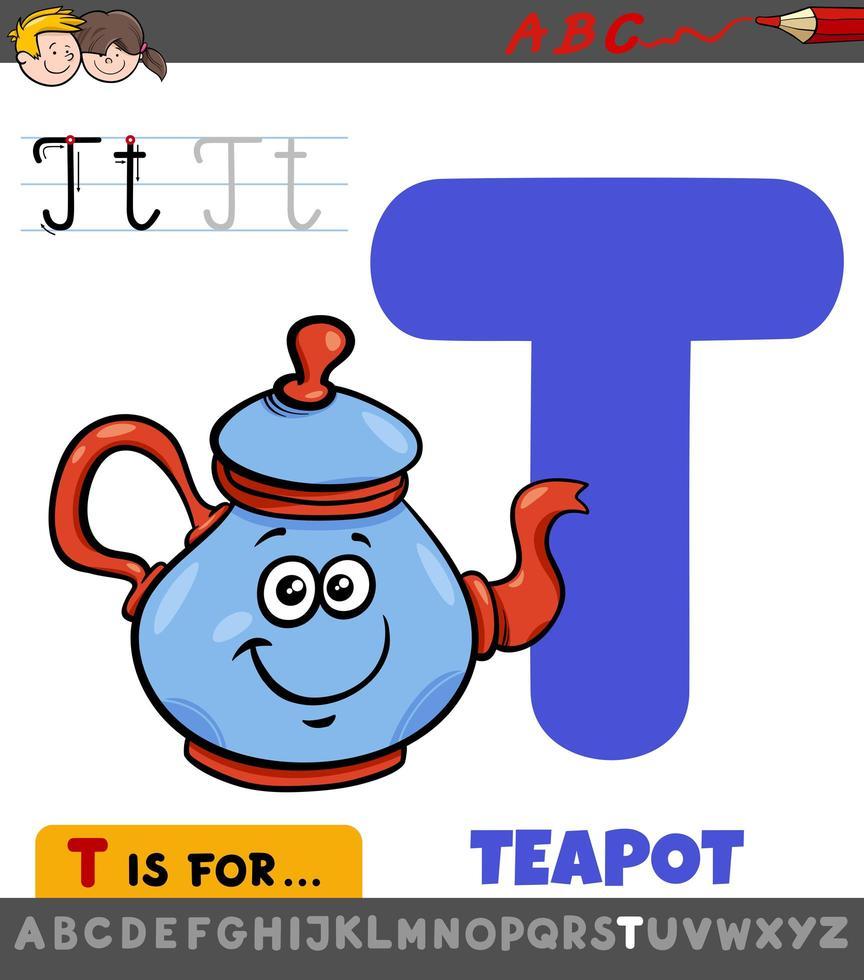 Buchstabe t pädagogisches Arbeitsblatt mit Cartoon-Teekanne vektor