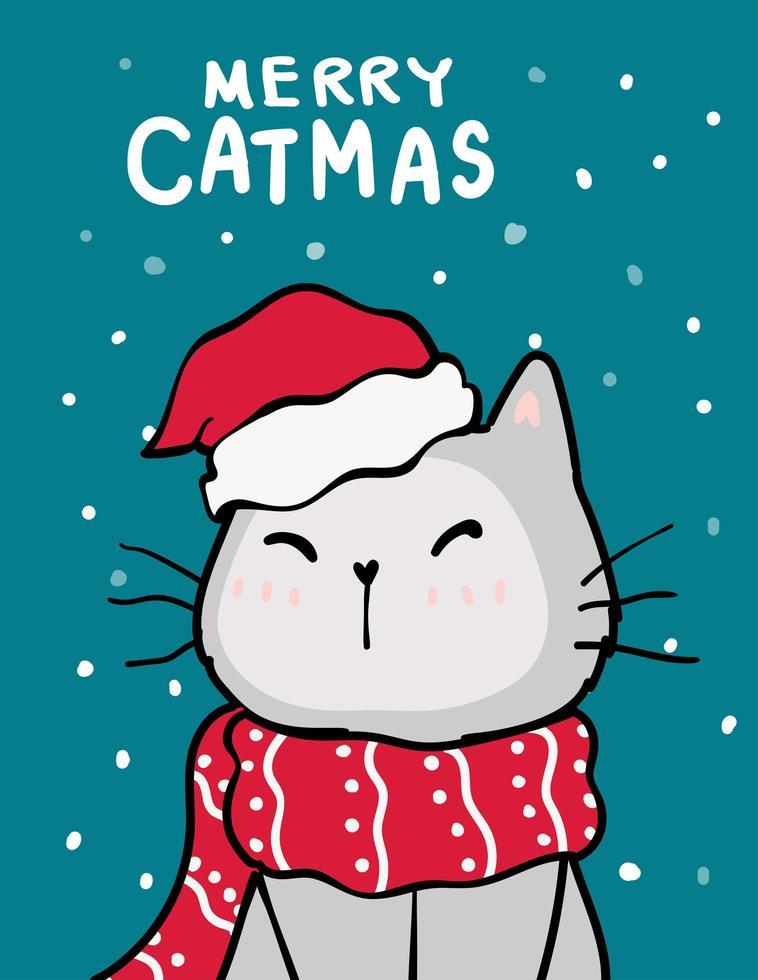 god jul, jul gratulationskort med söt katt vektor