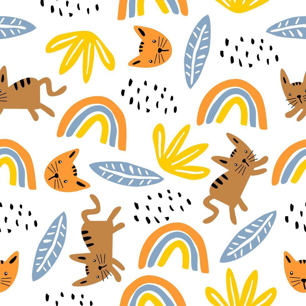 sömlösa mönster med söta katt färgglada kattungar. kreativ barnslig konsistens. perfekt för tyg, textilvektorillustration. vektor