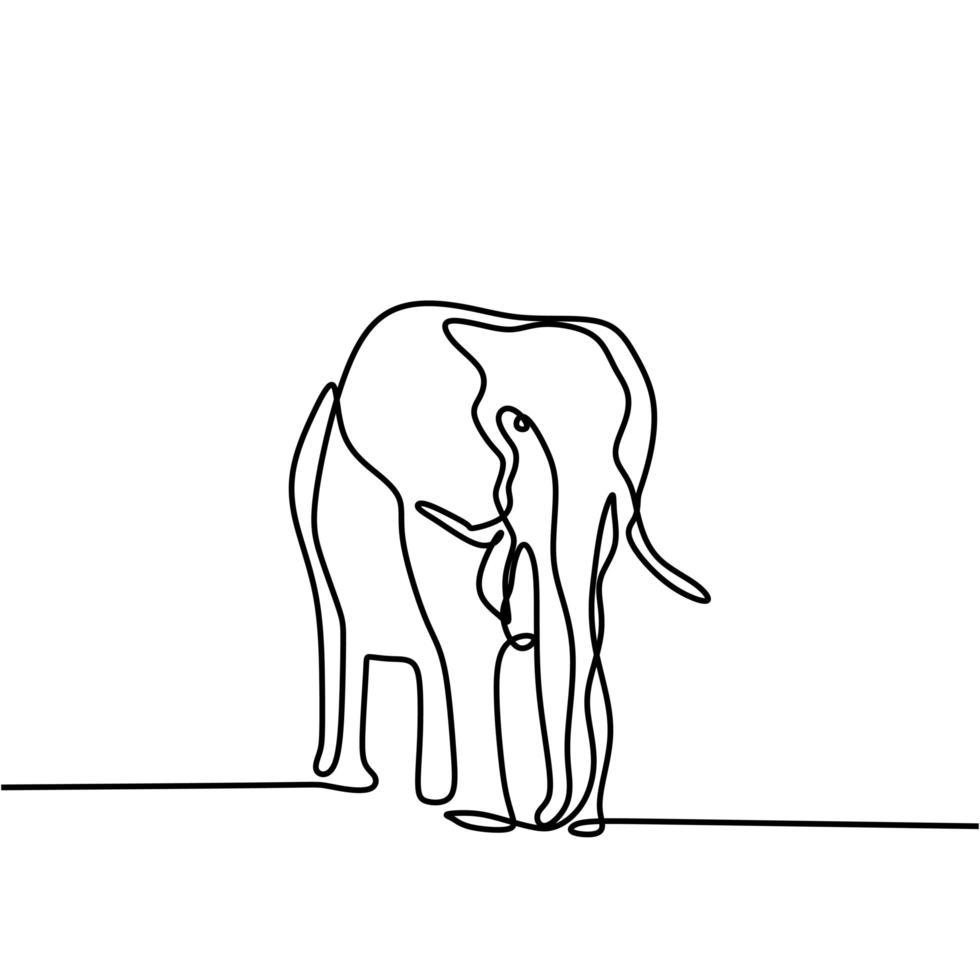 en linje ritning, elefant vektorillustration. abstrakt djurliv minimalism stil. kontinuerlig handritad isolerad på vit bakgrund. vektor