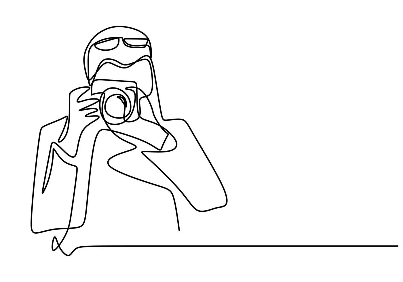 fotograf kontinuerlig en radillustration. man tar bild. kille skjuter med fotokamera. kontinuerlig en linje ritning, vektorillustration. vektor