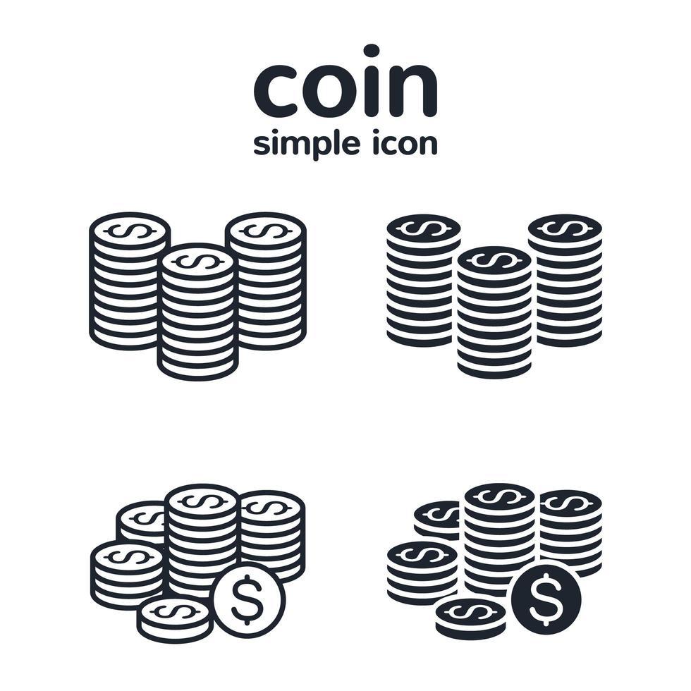 stack av mynt ikonuppsättning vektor