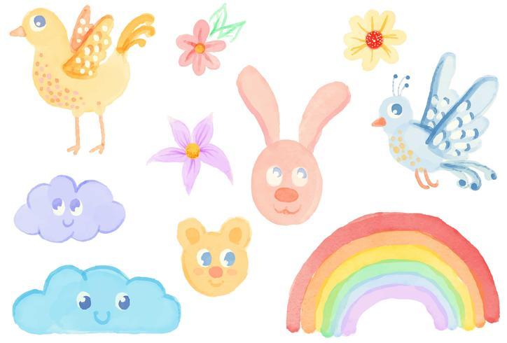 Akvarell barnsliga vektorer