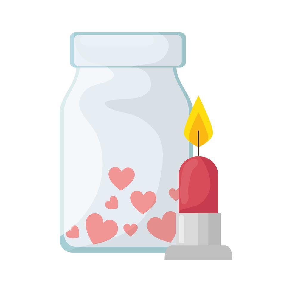 levande ljus och flaska med hjärtan isolerad ikon vektor