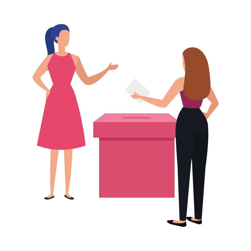 Geschäftsfrauen mit Wahlurne isolierte Ikone vektor