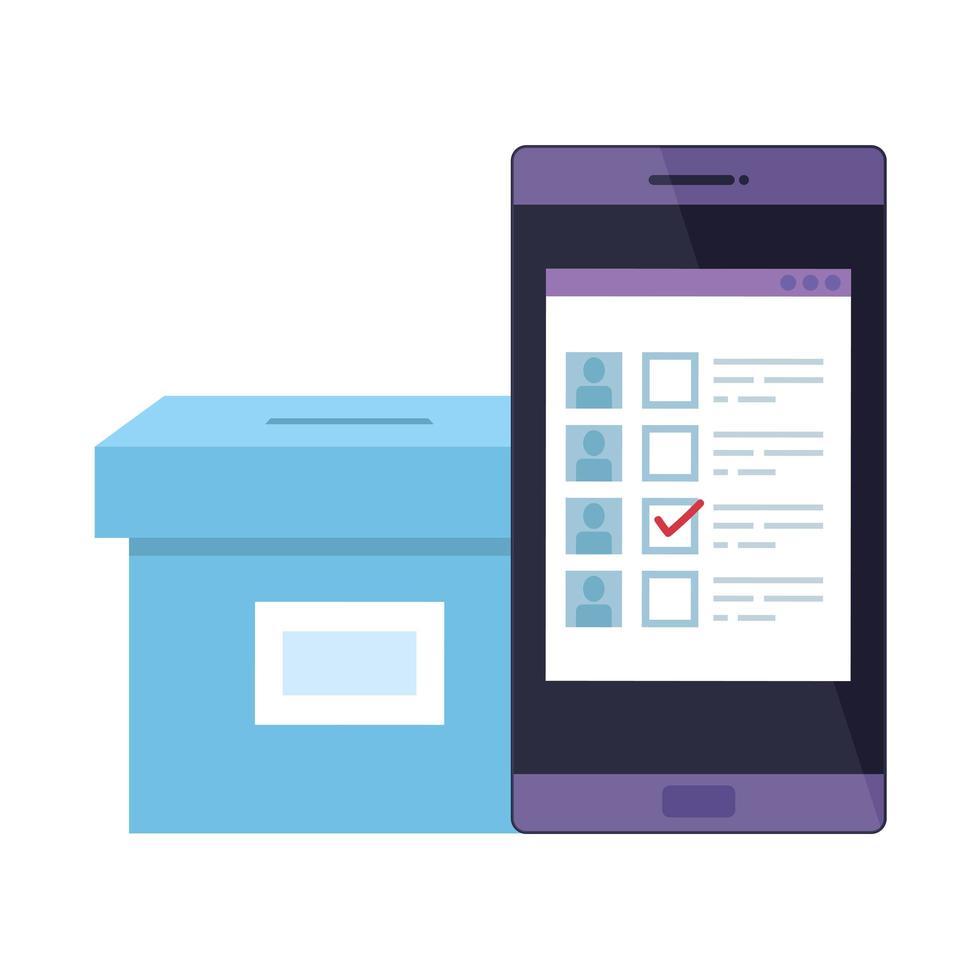 smartphone för omröstning online isolerad ikon vektor