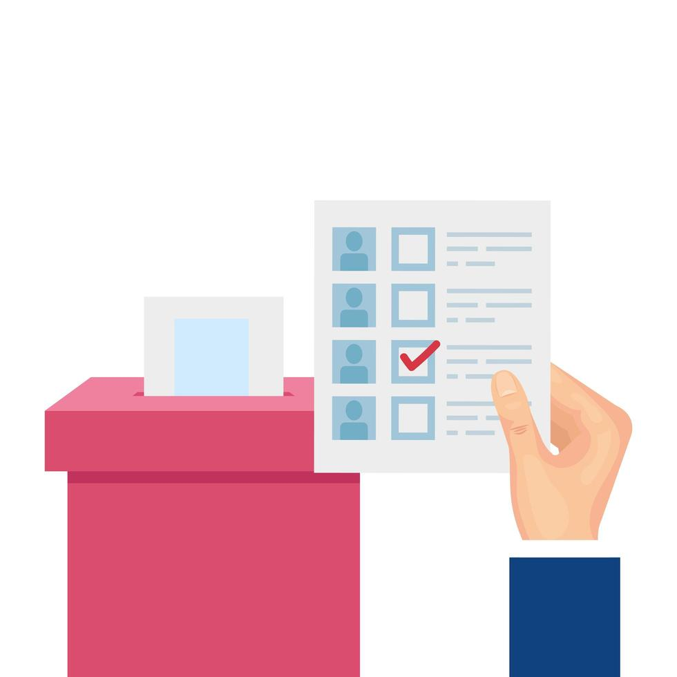 Hand mit Wahlurne Karton isoliert Symbol vektor