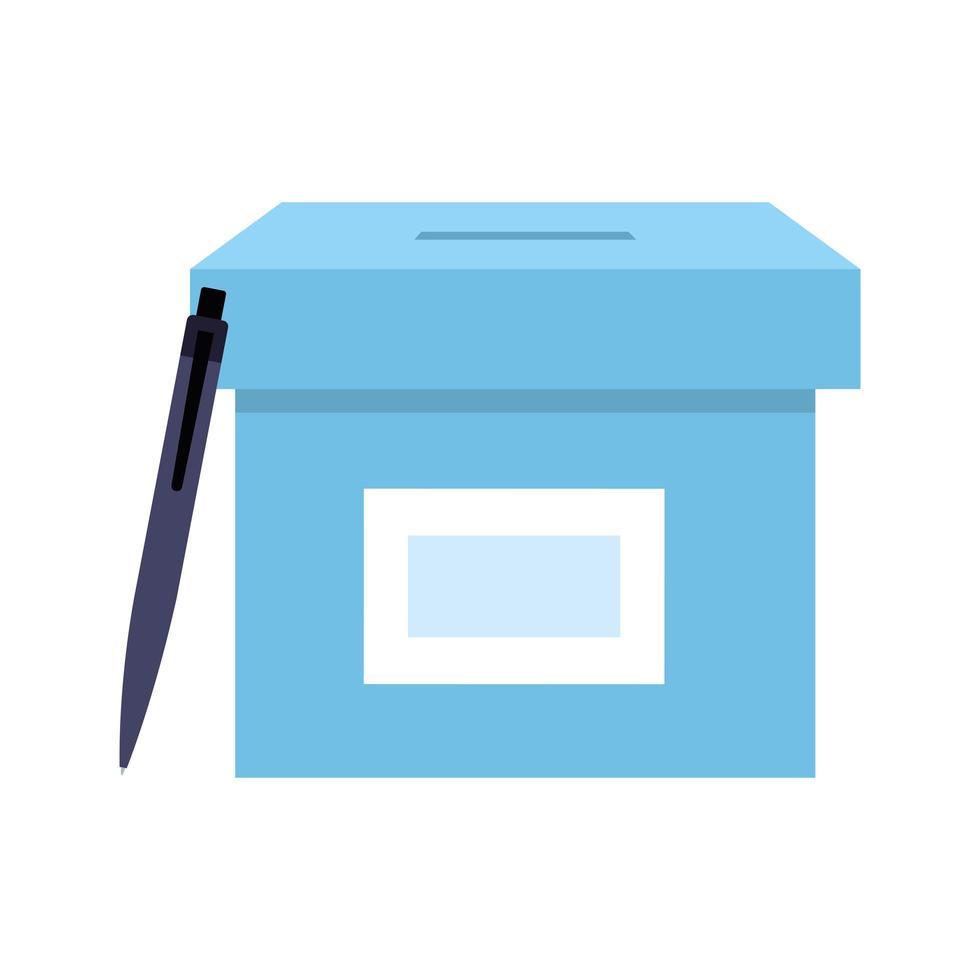 Wahlurne mit Stift isoliert Symbol vektor
