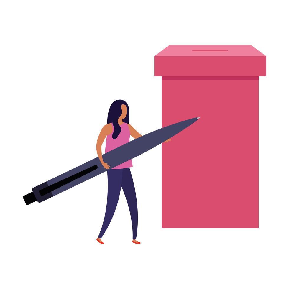 Geschäftsfrau mit Wahlurne und Stift vektor