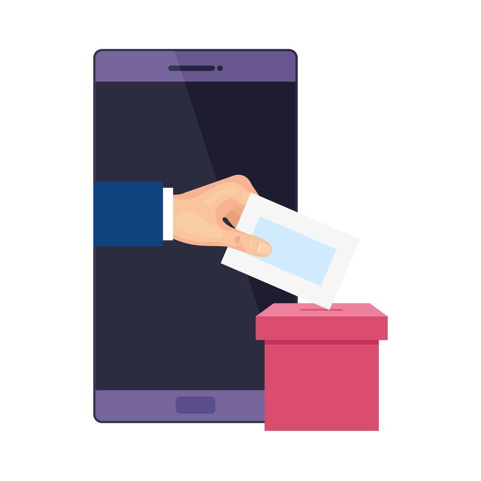 smartphone för röstning online isolerad ikon vektor
