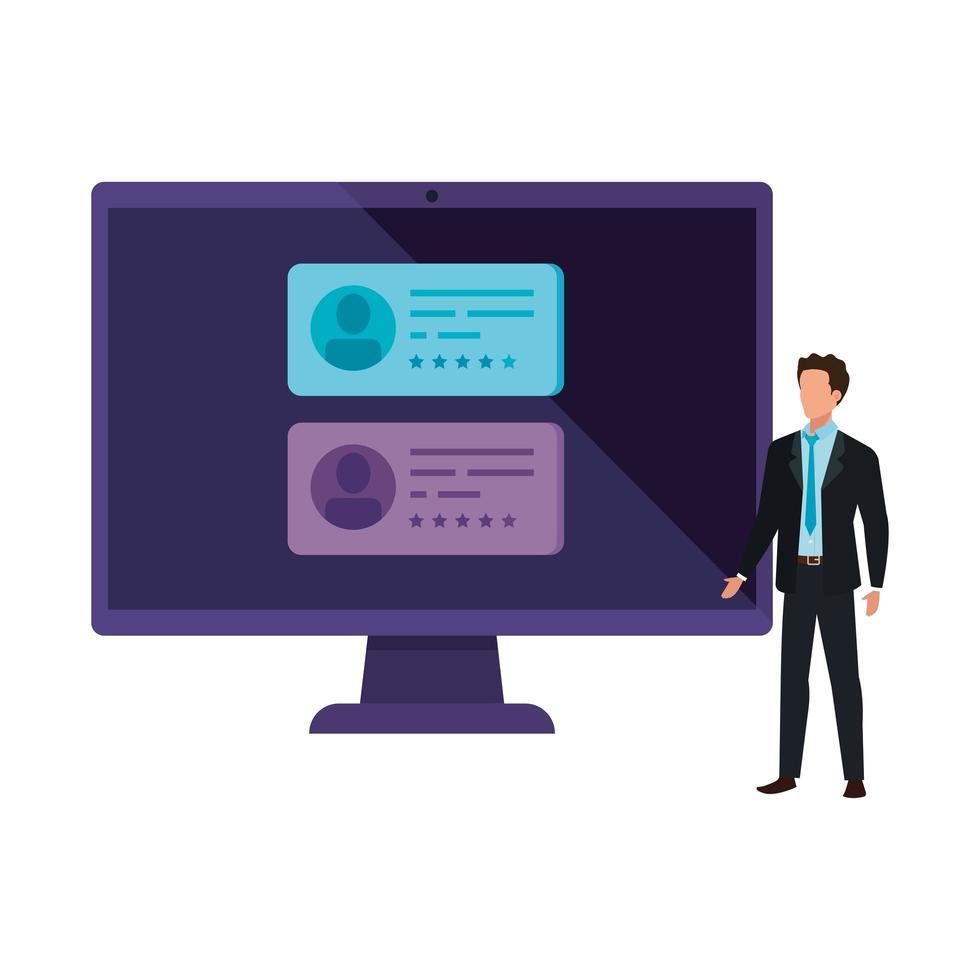 Geschäftsmann mit Computer zur Online-Abstimmung vektor