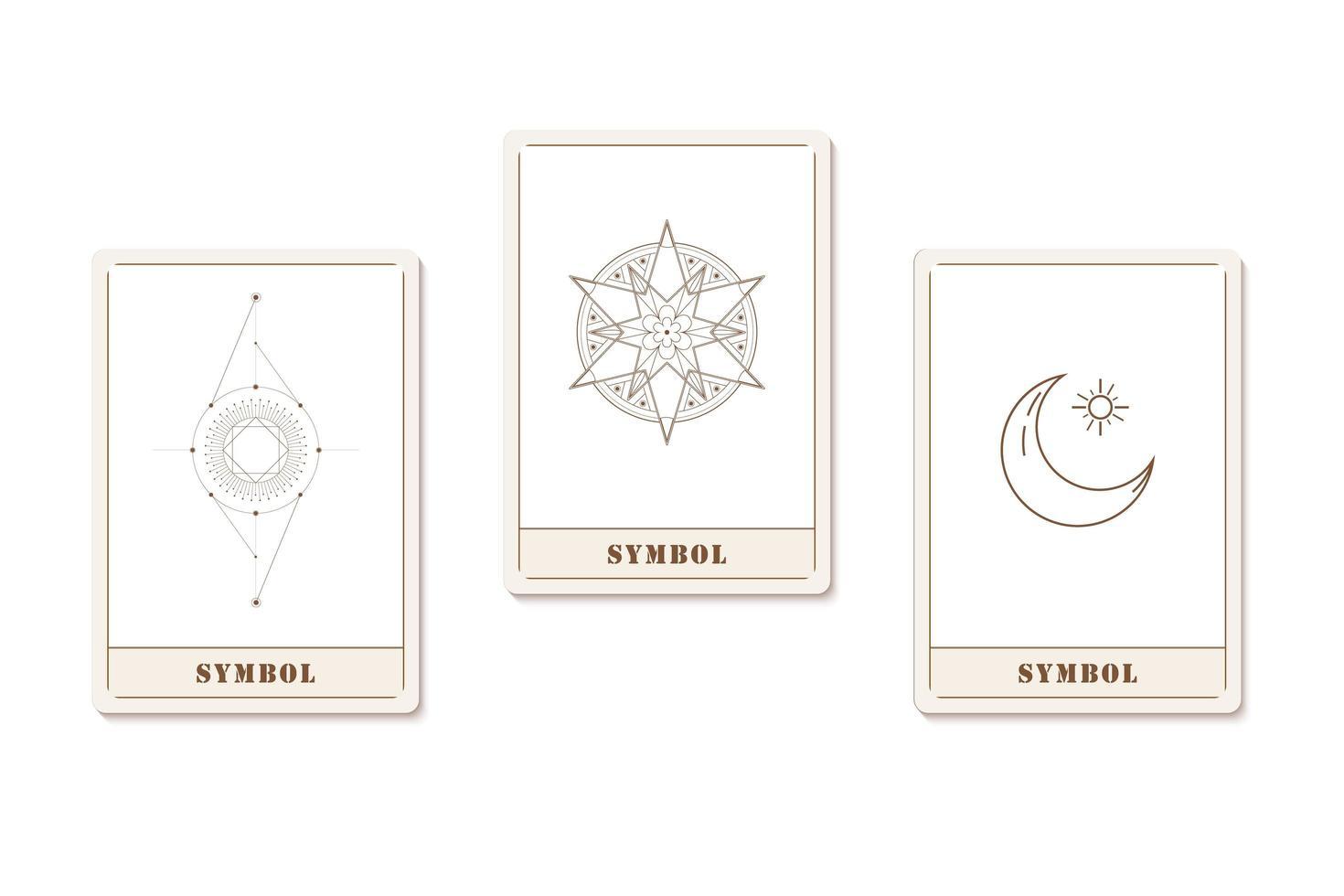 uppsättning kort med geometriska ikoner för astrologi vektor